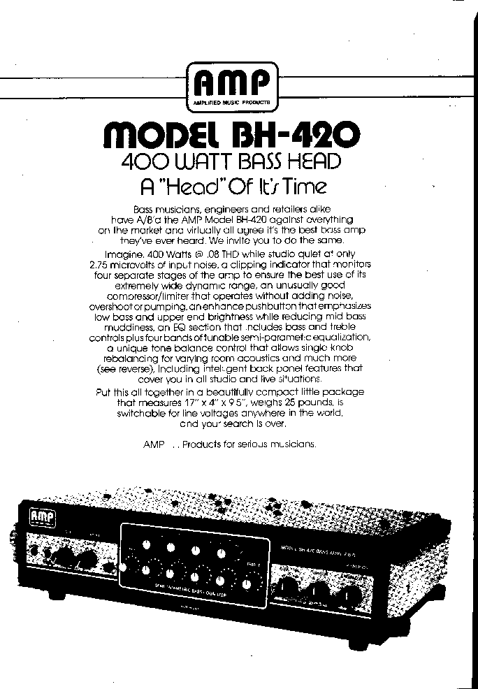 AMPLIFIED MUSIC AMP BH-420 Service Manual download