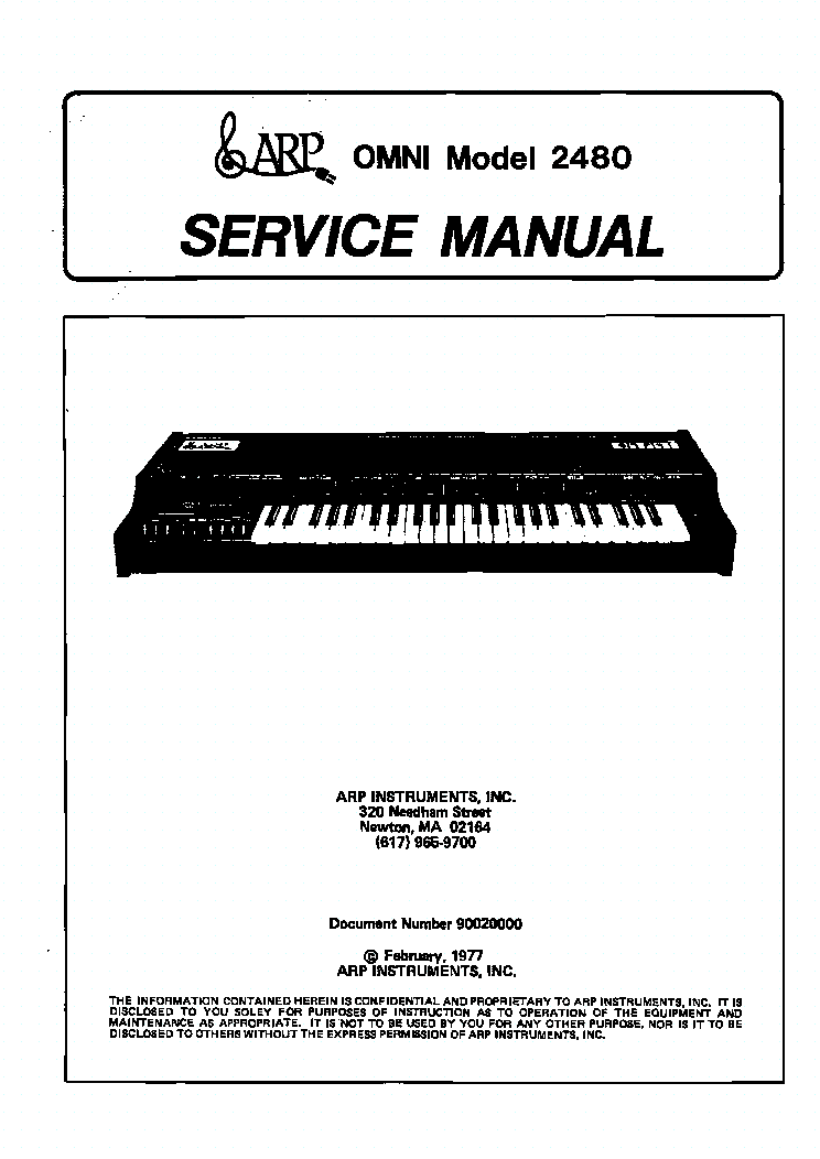 ARP LITTLE-BROTHER 2950 SYNTHESIZERS Service Manual