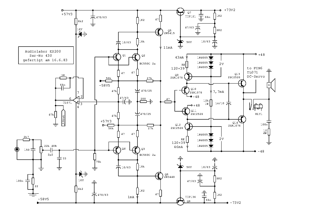 AUDIOLABOR ES200 SCH Service Manual download, schematics