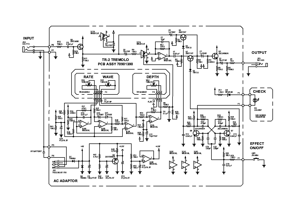 BOSS TR2 TREMOLO Service Manual download, schematics