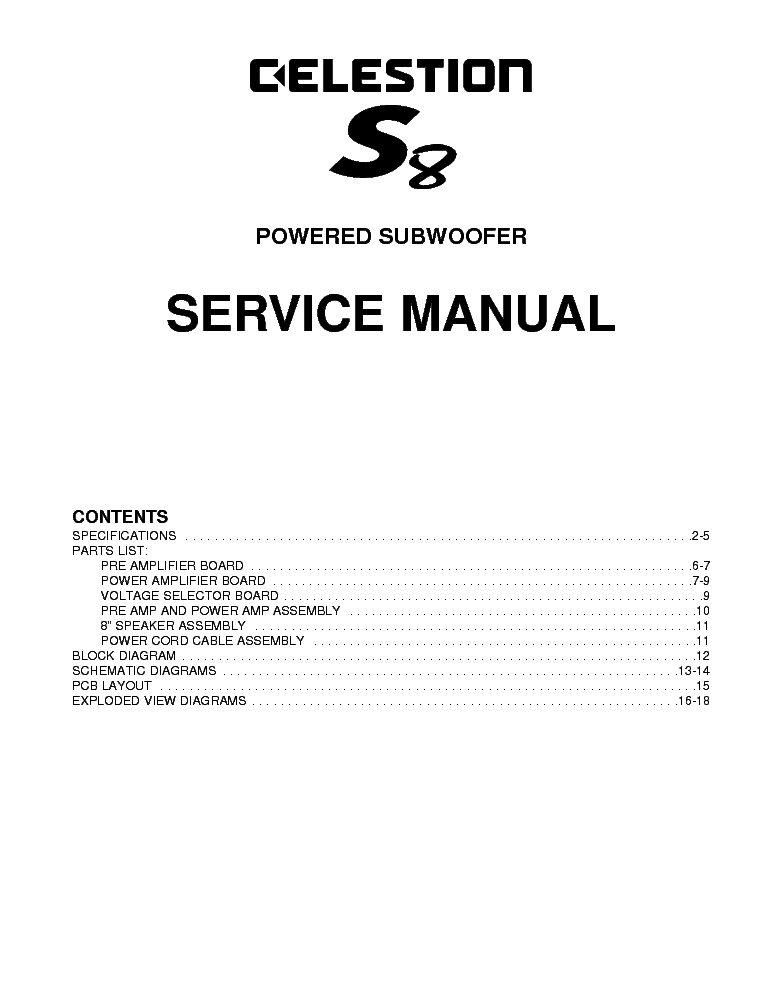 CELESTION S8 POWERED SUBWOOFER Service Manual download