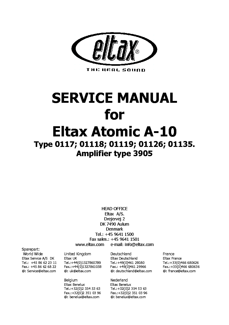 ELTAX ATOMIC A-10 SUBWOOFER Service Manual download