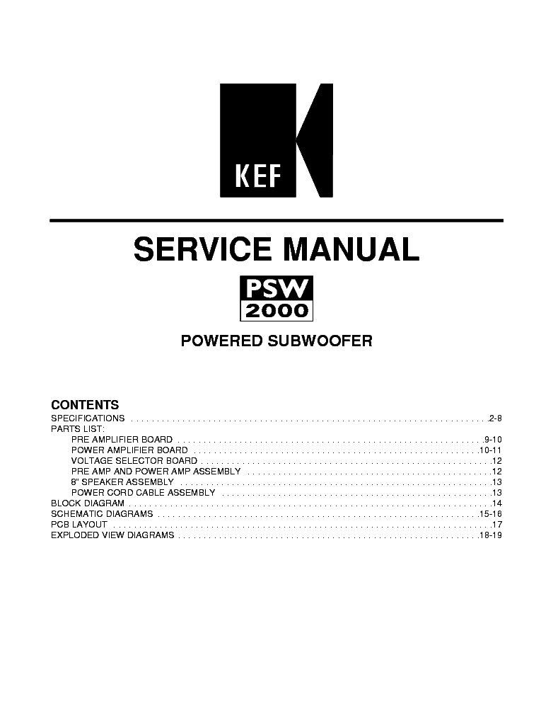 HANGFAL KEF PSW2000 SERVICE MANUAL Service Manual download