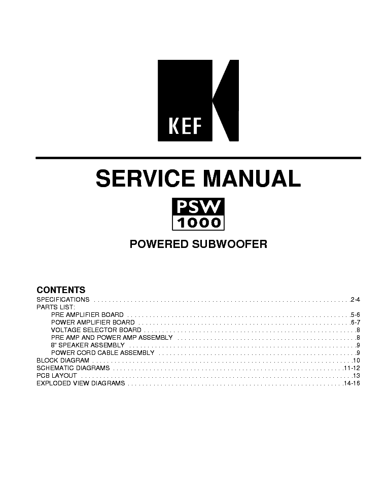 KEF PSW1000 SUBWOOFER Service Manual download, schematics