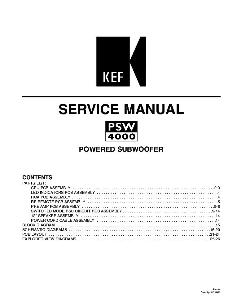KEF PSW2010 SM Service Manual download, schematics, eeprom