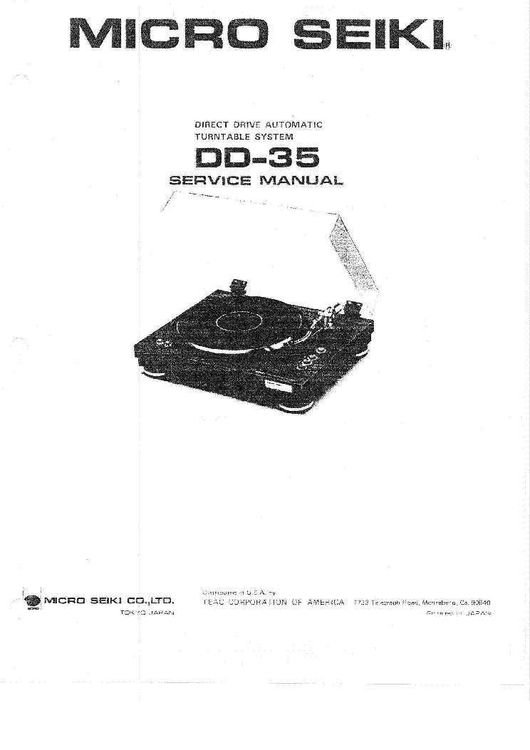 MICRO-SEIKI DQ-43 TURNTABLE Service Manual download