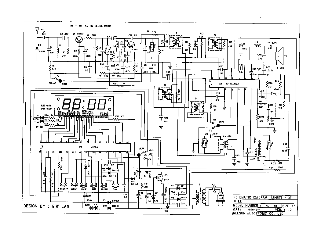 NELSON NE-68 AMFM CLOCK RADIO Service Manual download