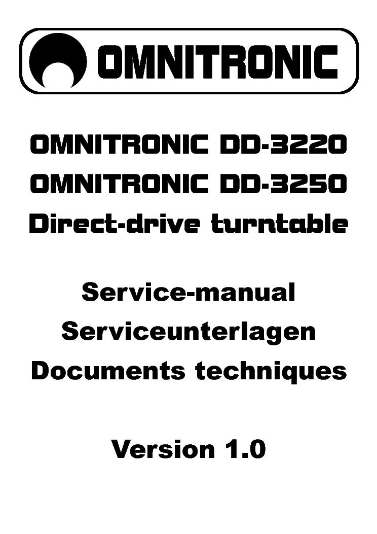 OMNITRONIC DD-3220 DD-3250 DIRECT DRIVE TURTABLE SCH
