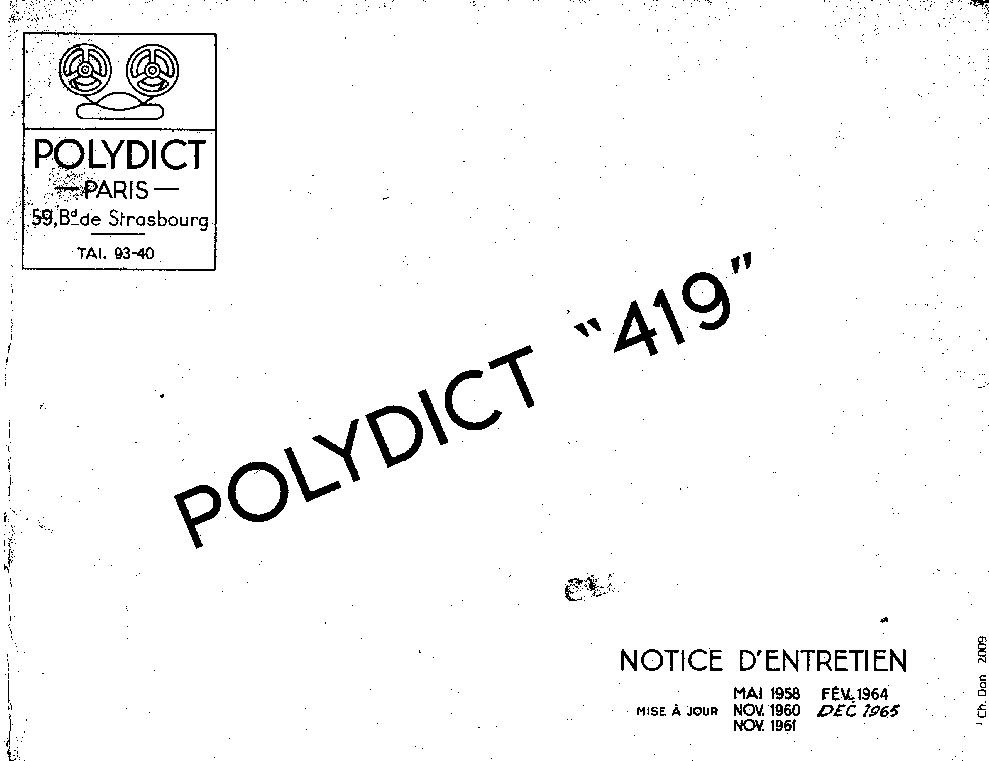 POLYDICT 419 TAPE RECORDER SM Service Manual download