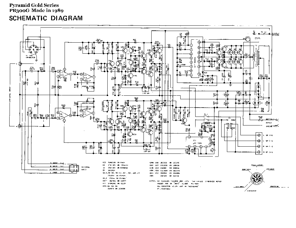 PYRAMID PB300G-GOLD SERIES 1989 SCHEMATIC Service Manual