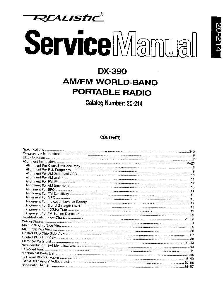 RADIO SHACK DX-390 SERVICE MANUAL Service Manual download
