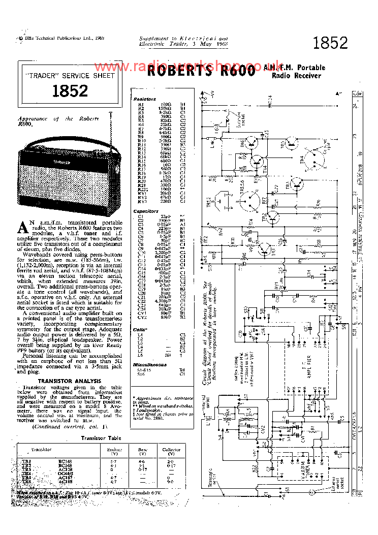 ROBERTS 192FT Service Manual download, schematics, eeprom