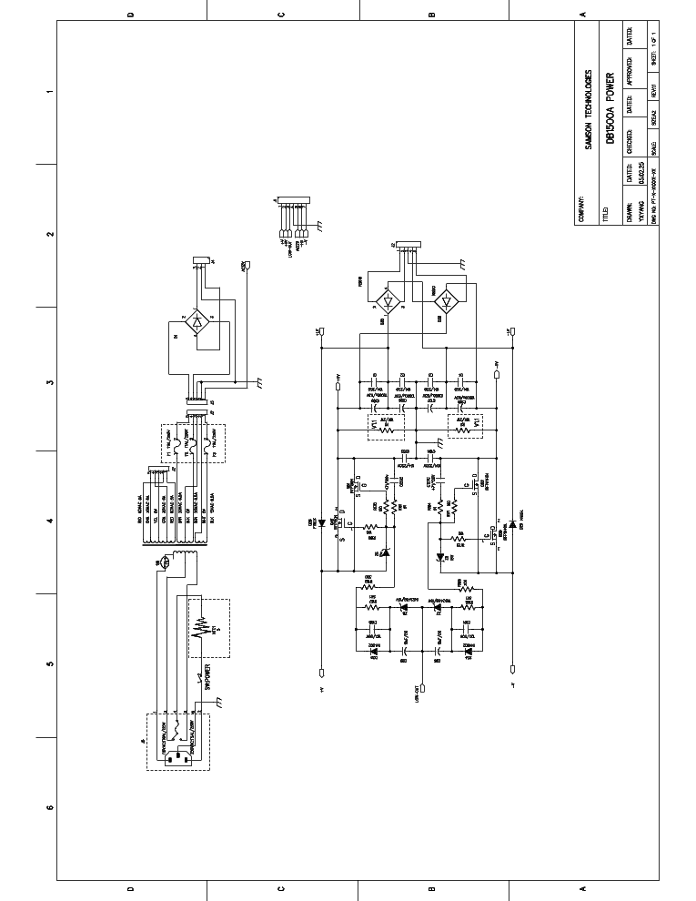 SAMSON AUDIO DB-1500-A POWER 2005 SCH Service Manual