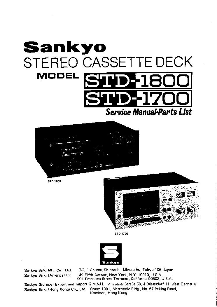 SANKYO STD1700 STD1800 Service Manual download, schematics