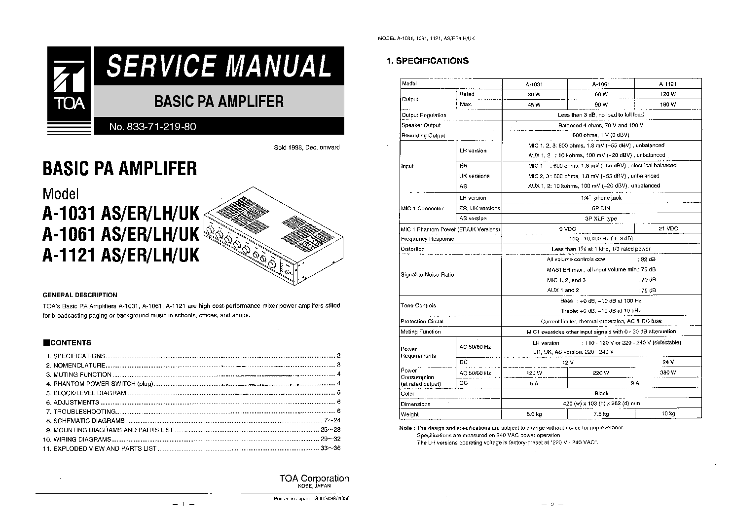 TOA A-1031 AS ER LH UK 1061 1121 E Service Manual download