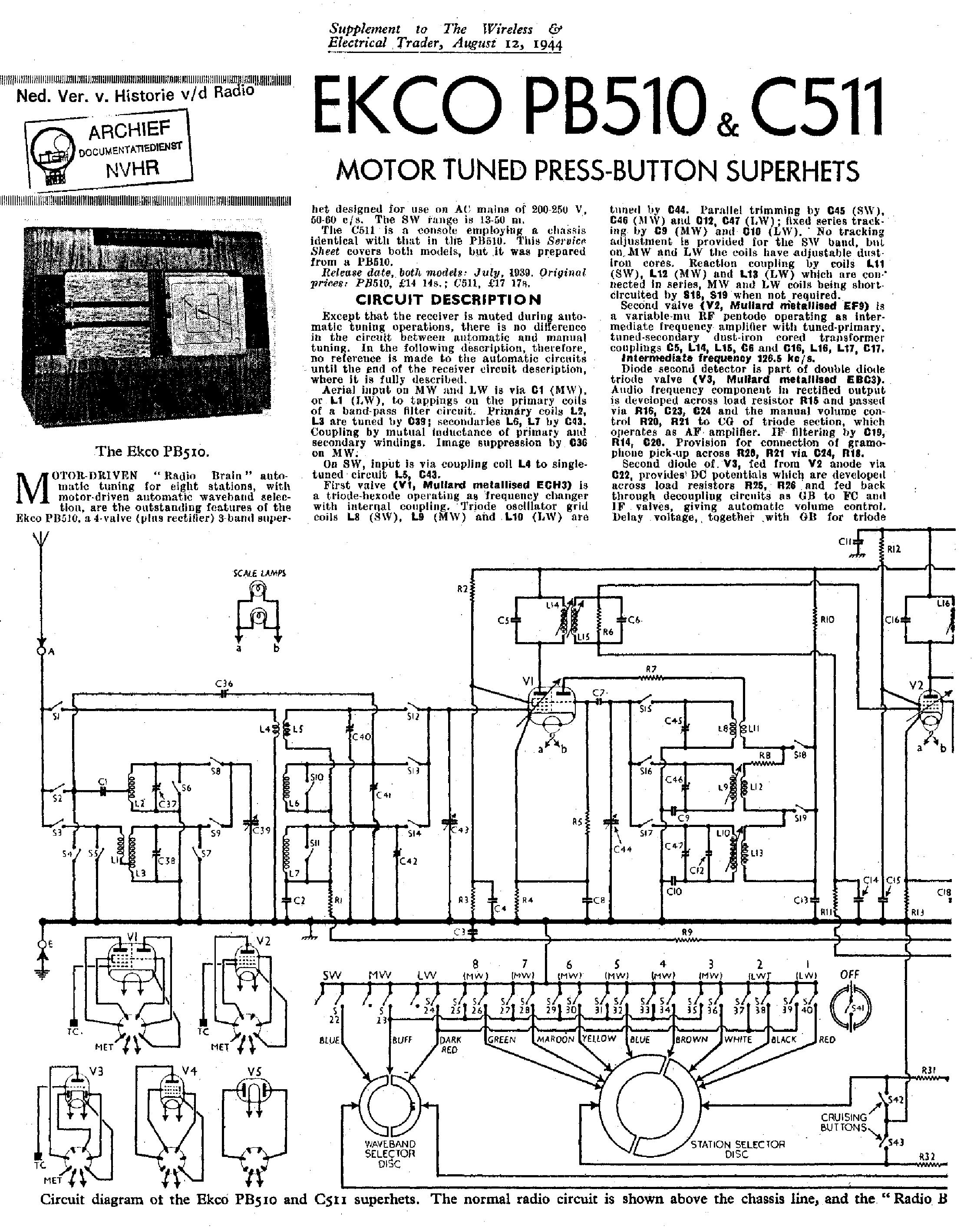 EKCO A28 Service Manual download, schematics, eeprom