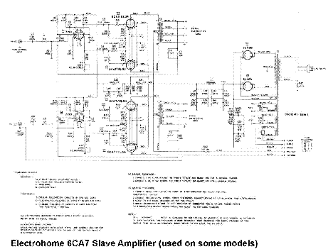 Electro Harmonix Electrohome 6ca7 El34 Slave Amplifier Sch