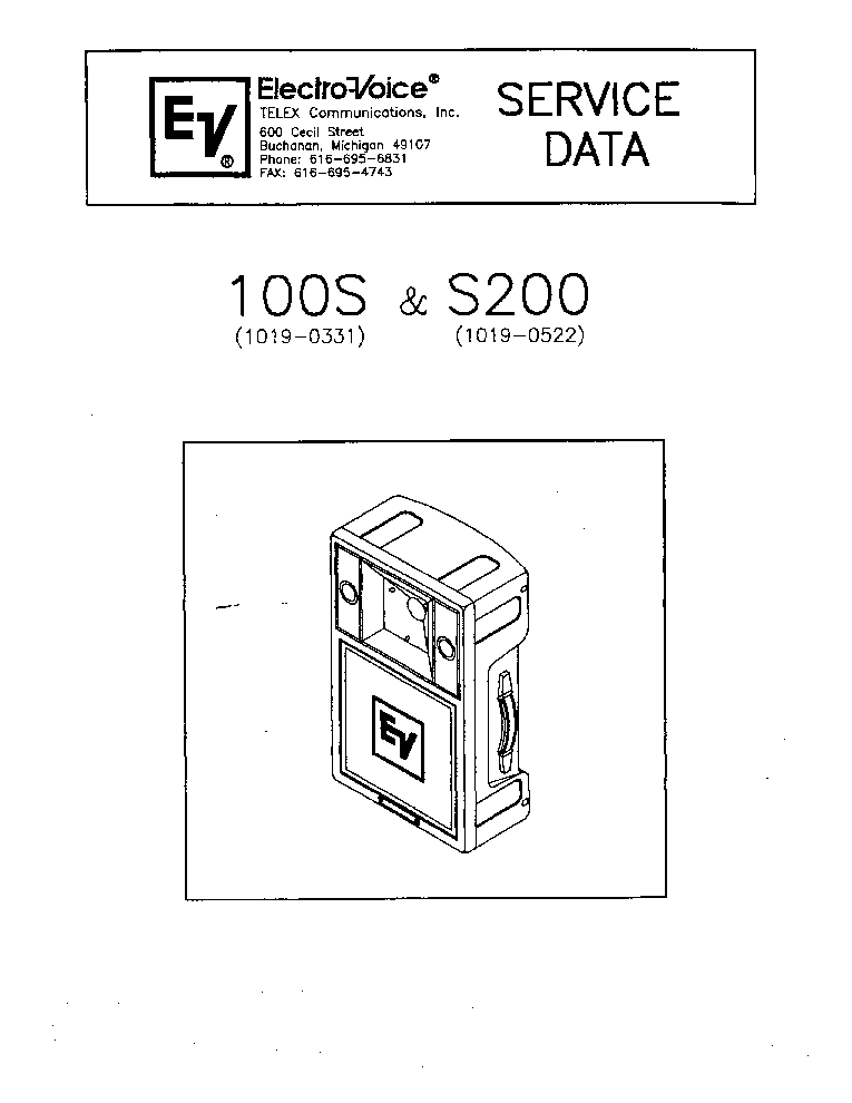 ELECTRO-VOICE 100S S200 Service Manual download