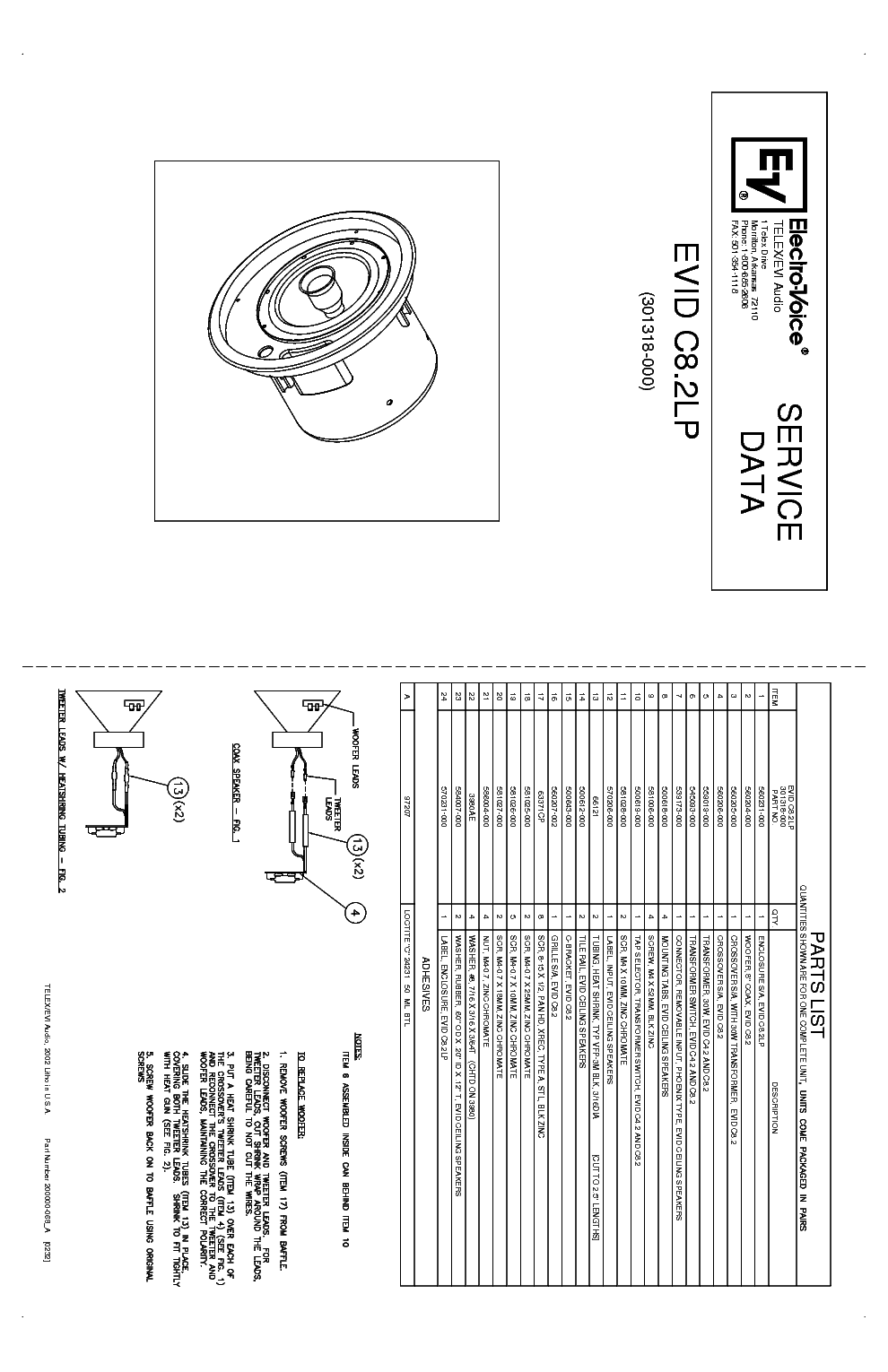 ELECTRO-VOICE SH-1810L-ER SM Service Manual download