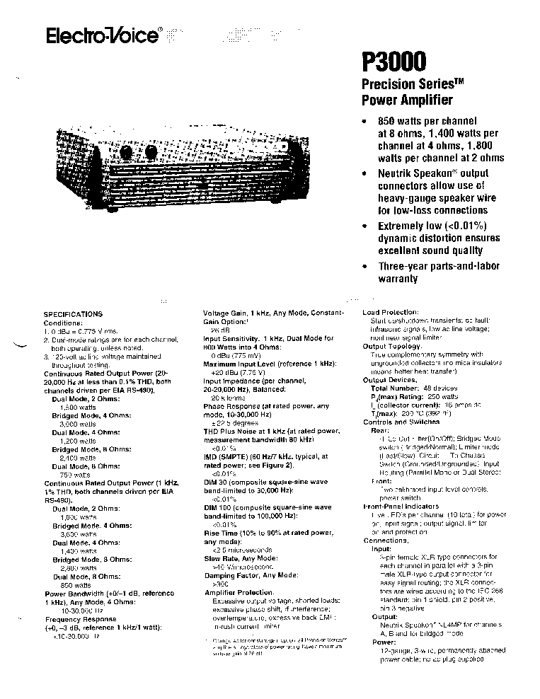 ELECTRO-VOICE P3000 SM Service Manual download, schematics