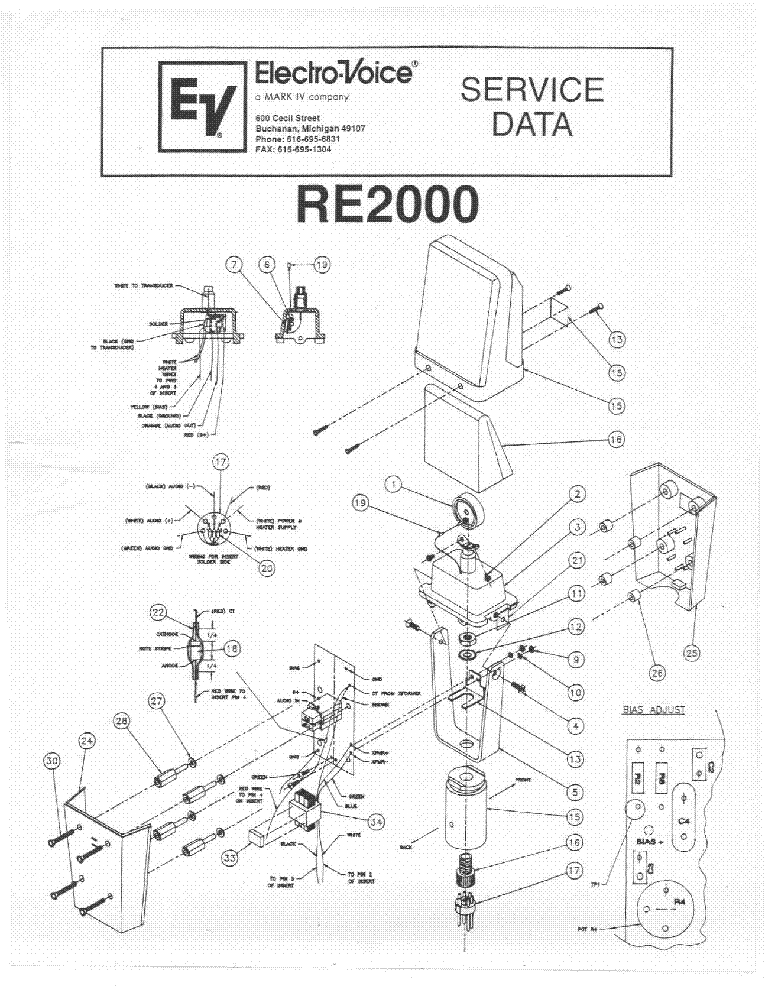 ELECTRO-VOICE RE2000 MIKROFON Service Manual download