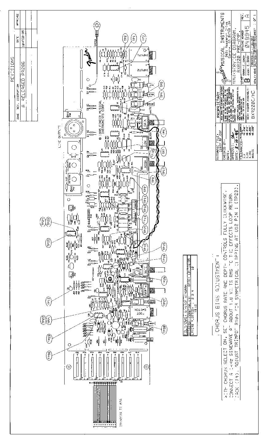 FENDER BXR-200 SCH Service Manual download, schematics