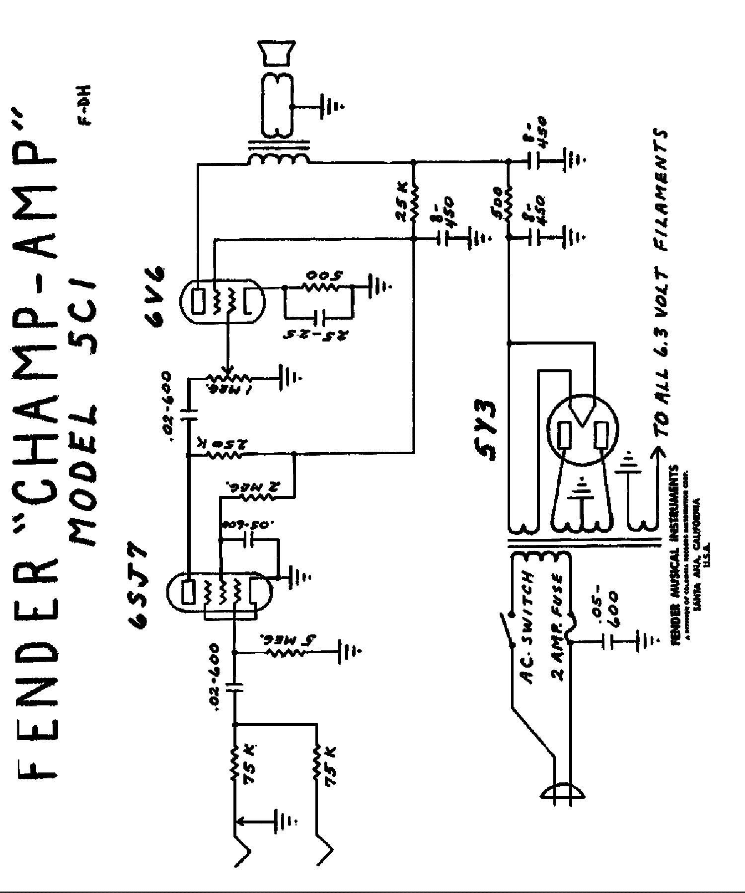 FENDER CHAMP-5F1 Service Manual free download, schematics
