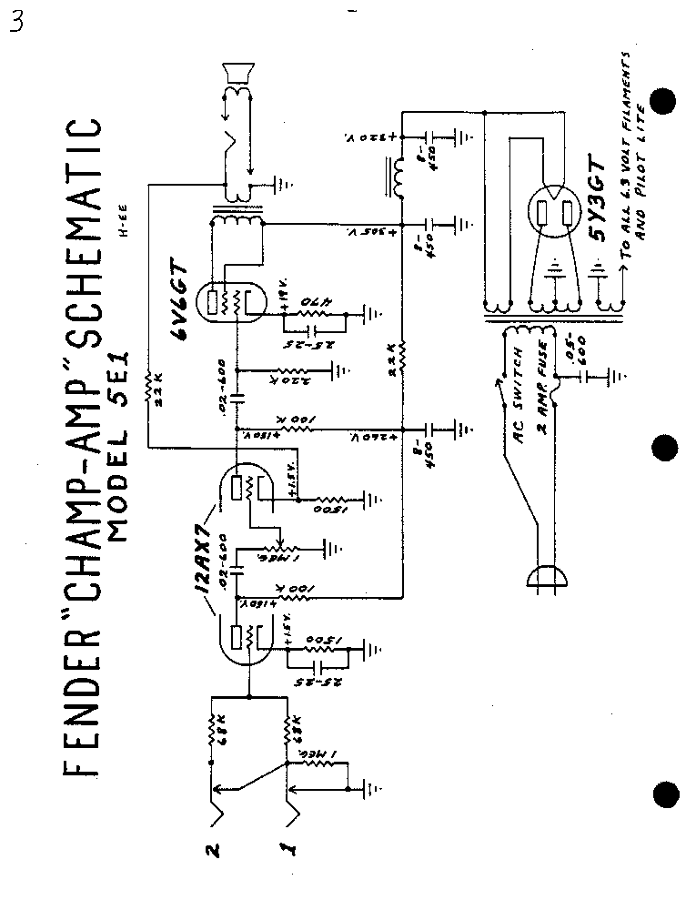 FENDER CHAMP AMP 5E1 SCH Service Manual download