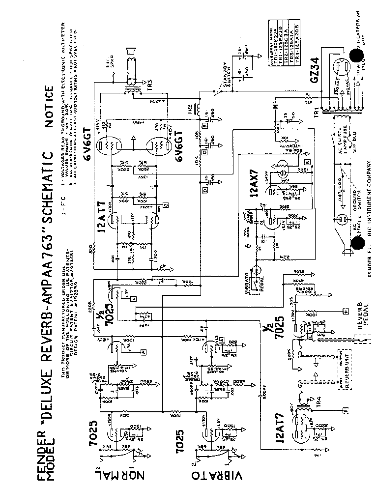 FENDER DELUXE REVERB AMP AA763 SCH Service Manual download