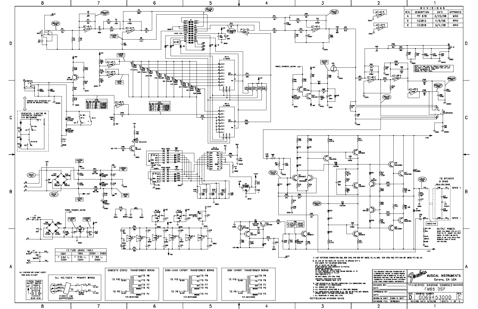FENDER FM65DSP SCH Service Manual download, schematics
