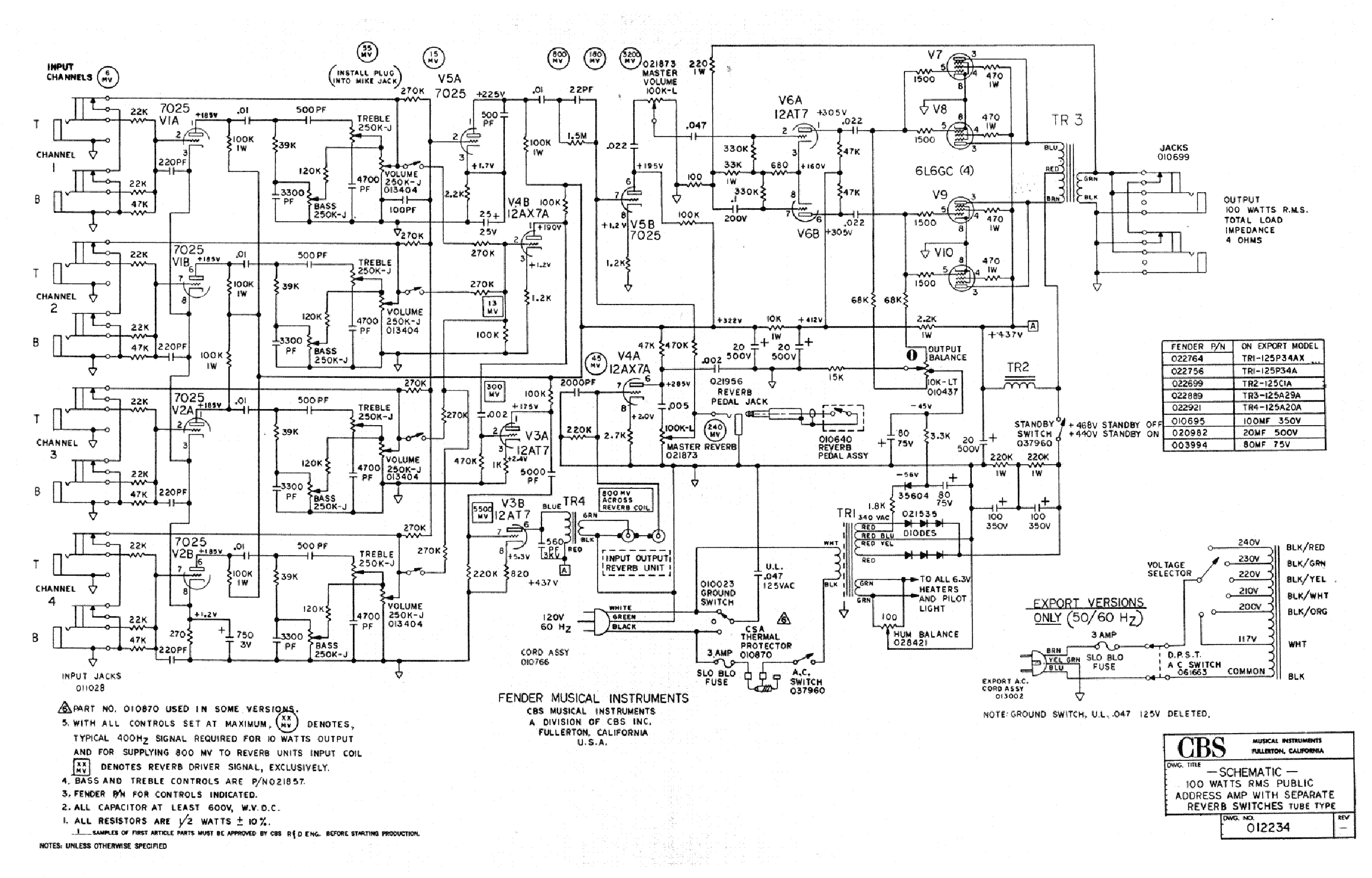FENDER PA100REV Service Manual download, schematics