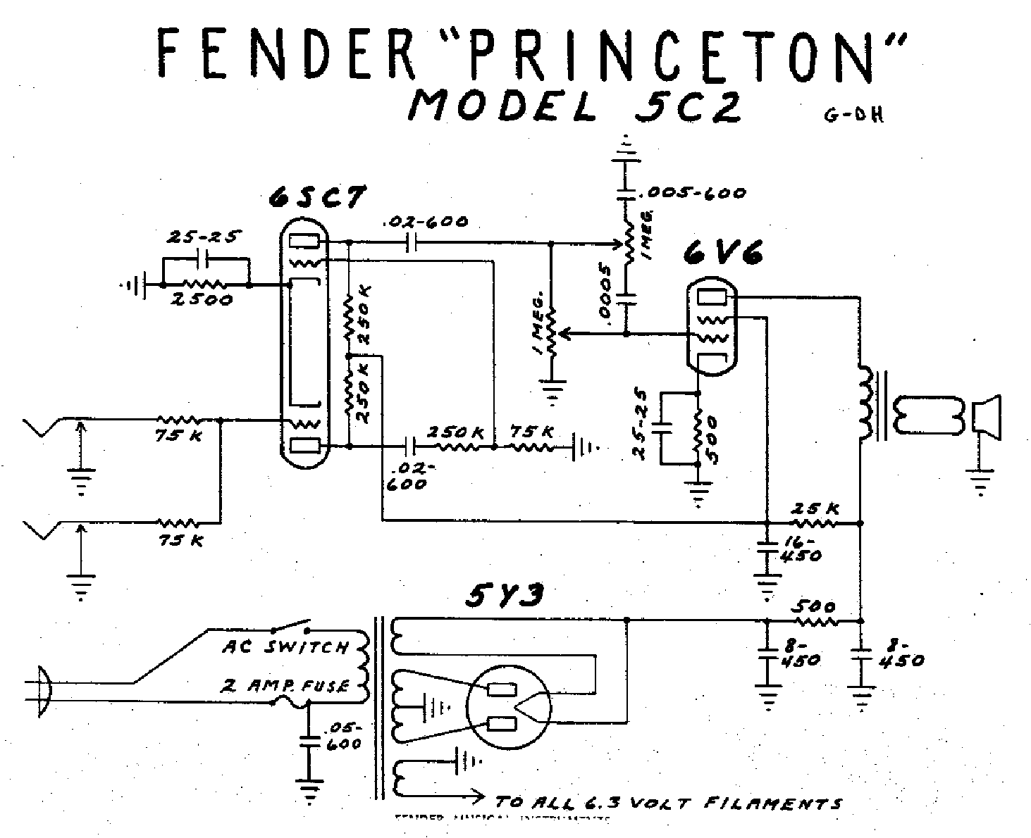 FENDER PRINCETON-5C2 Service Manual download, schematics