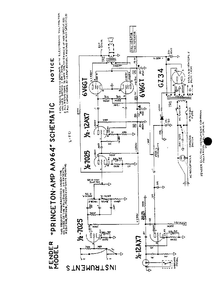 FENDER KXR-200 SCH Service Manual download, schematics