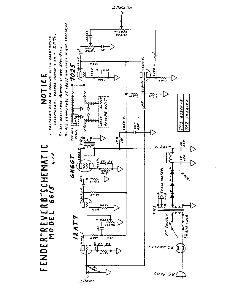 FENDER REVERB 6G15 SCH Service Manual download, schematics