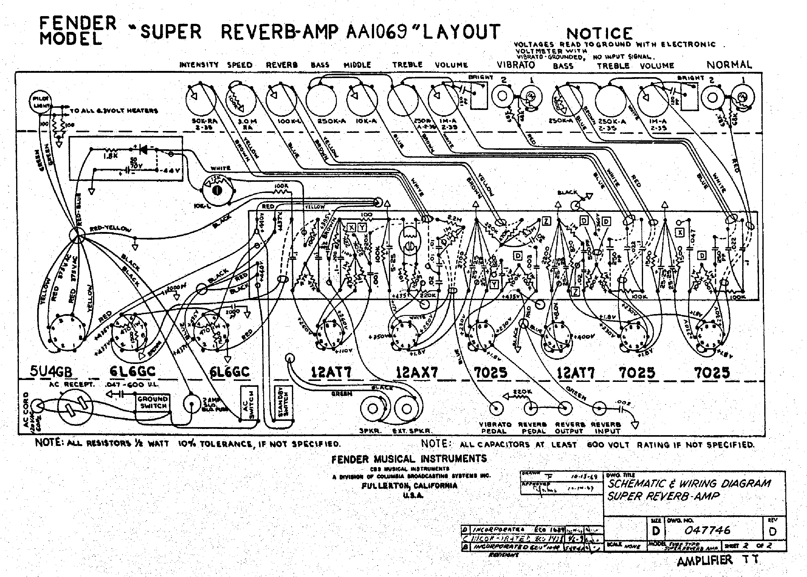 Fender Super Reverb Aa Layout Service Manual Download