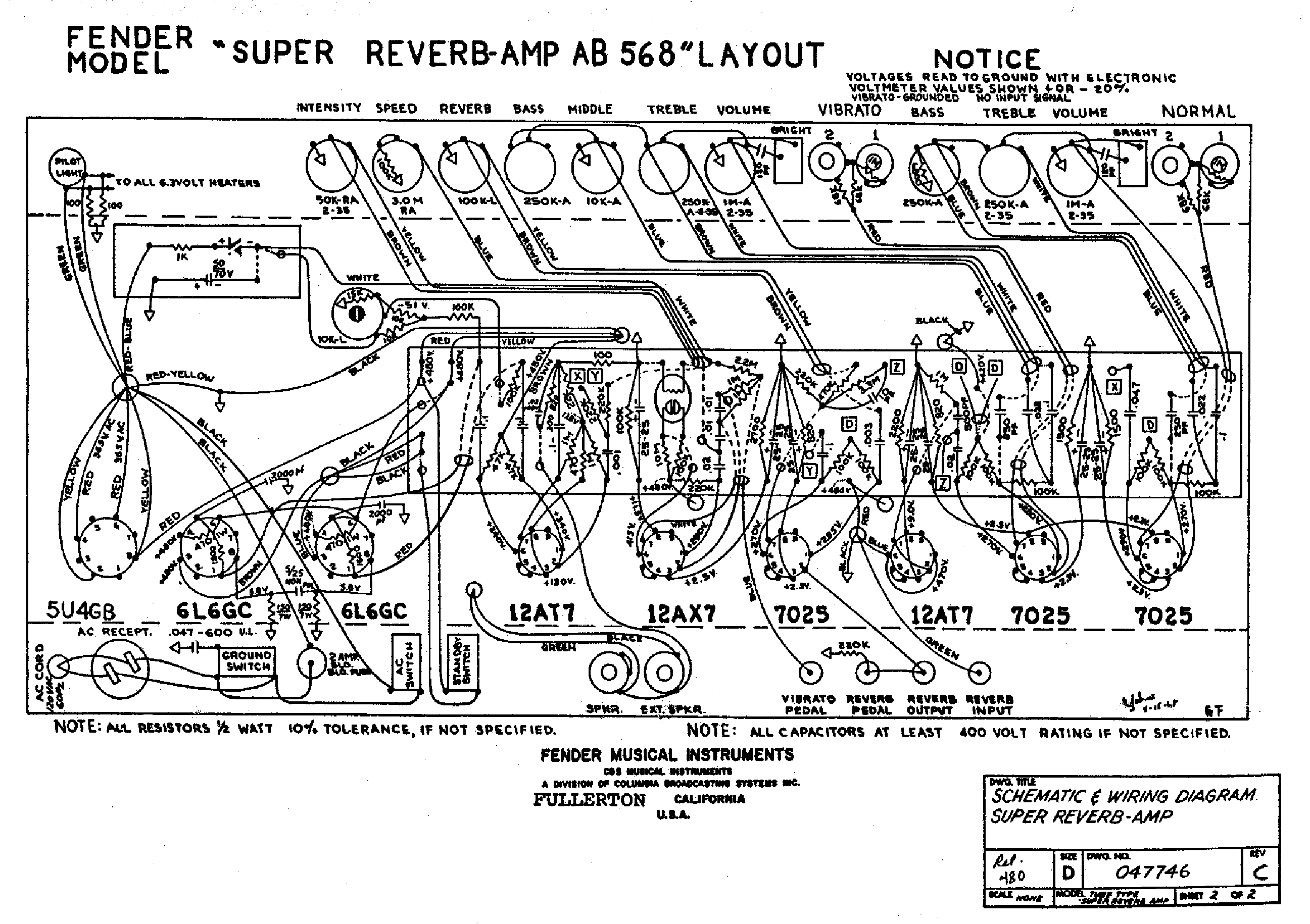 FENDER TWIN REVERB AA270 SCH Service Manual download