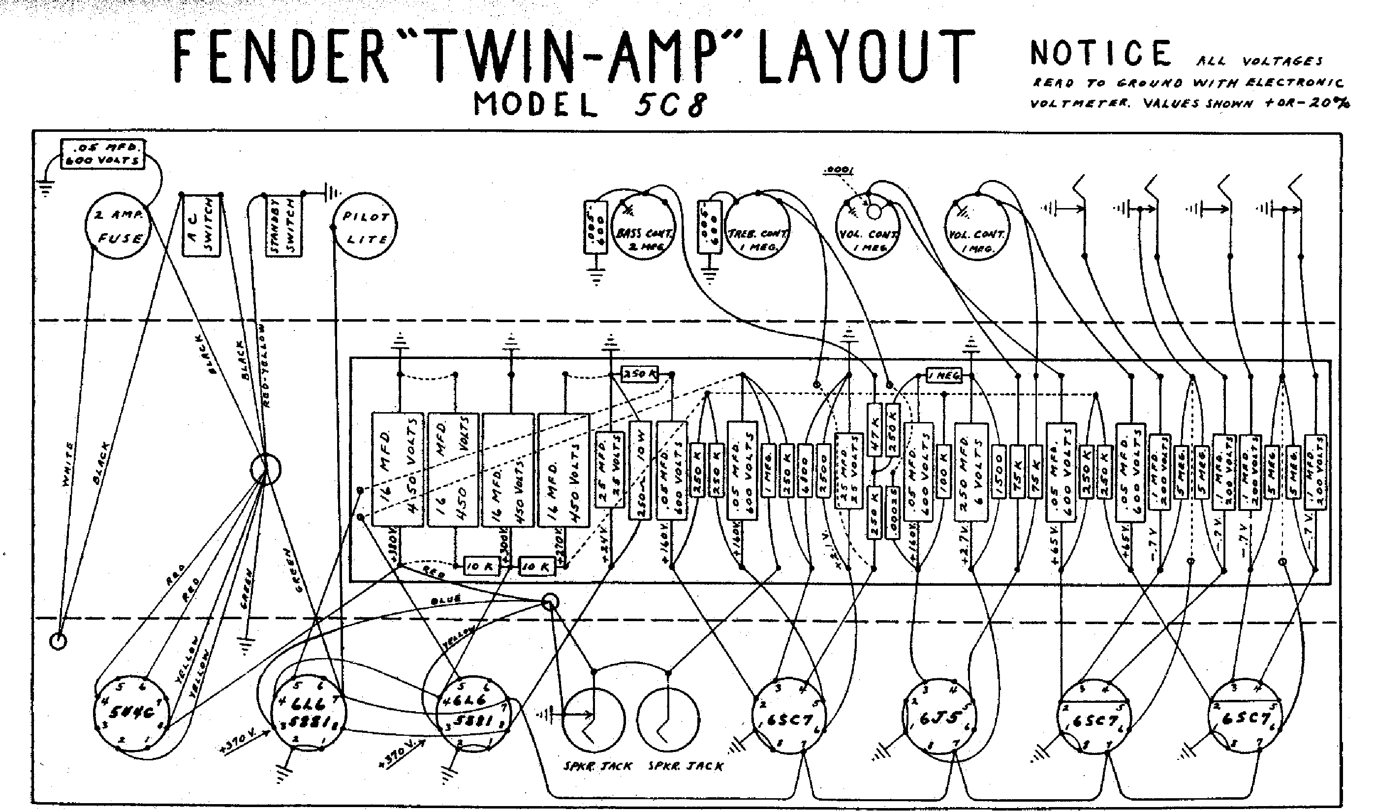 FENDER TWIN-5C8-LAYOUT Service Manual download, schematics