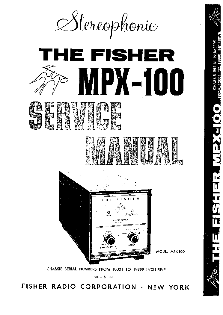 FISHER MPX-100 SM Service Manual download, schematics