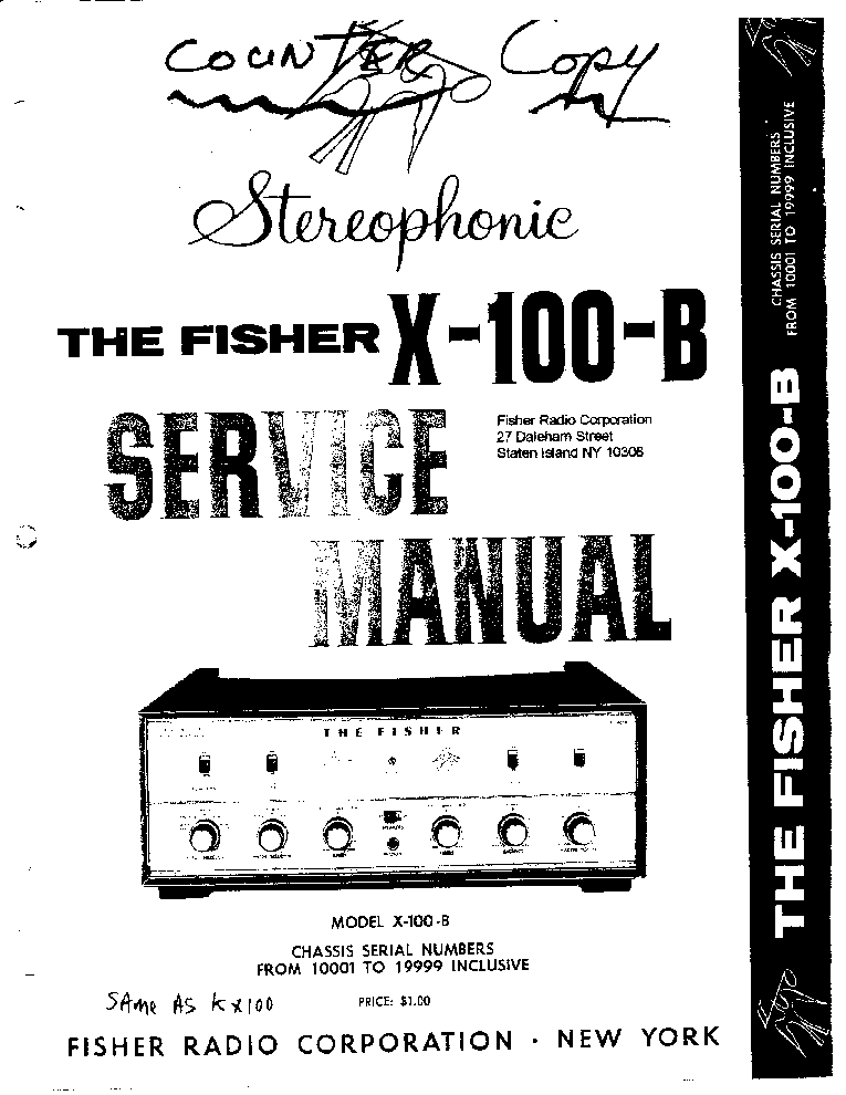 FISHER X-100-B PARTS SCH Service Manual download