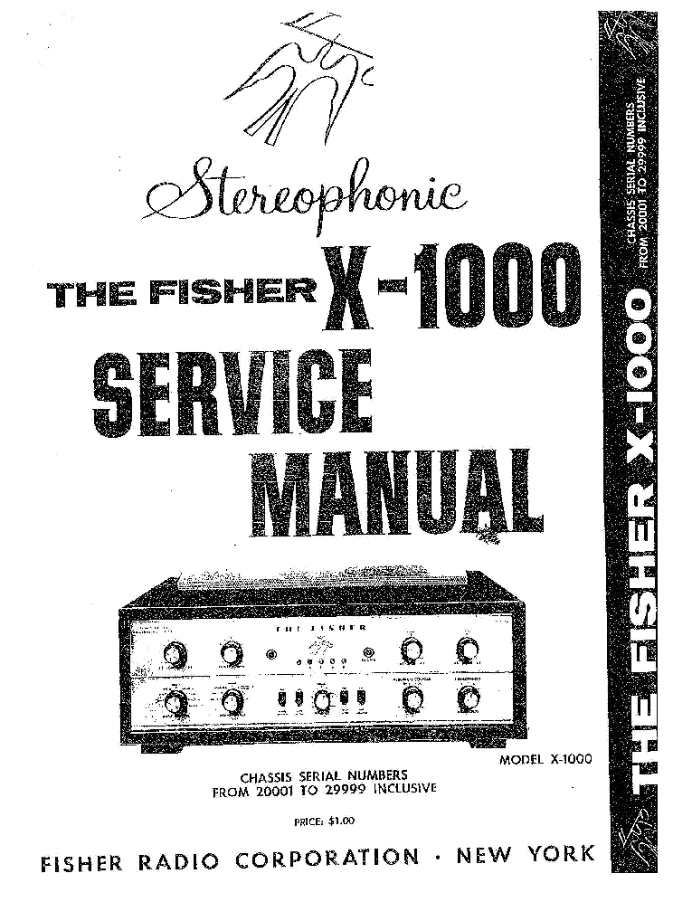 FISHER X-1000 Service Manual download, schematics, eeprom