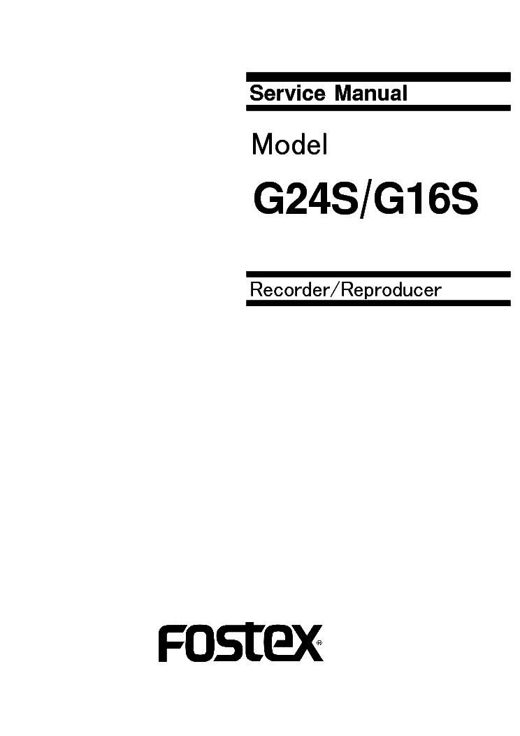 FOSTEX 812 SERVICEMANUAL-SCHEMATICS Service Manual