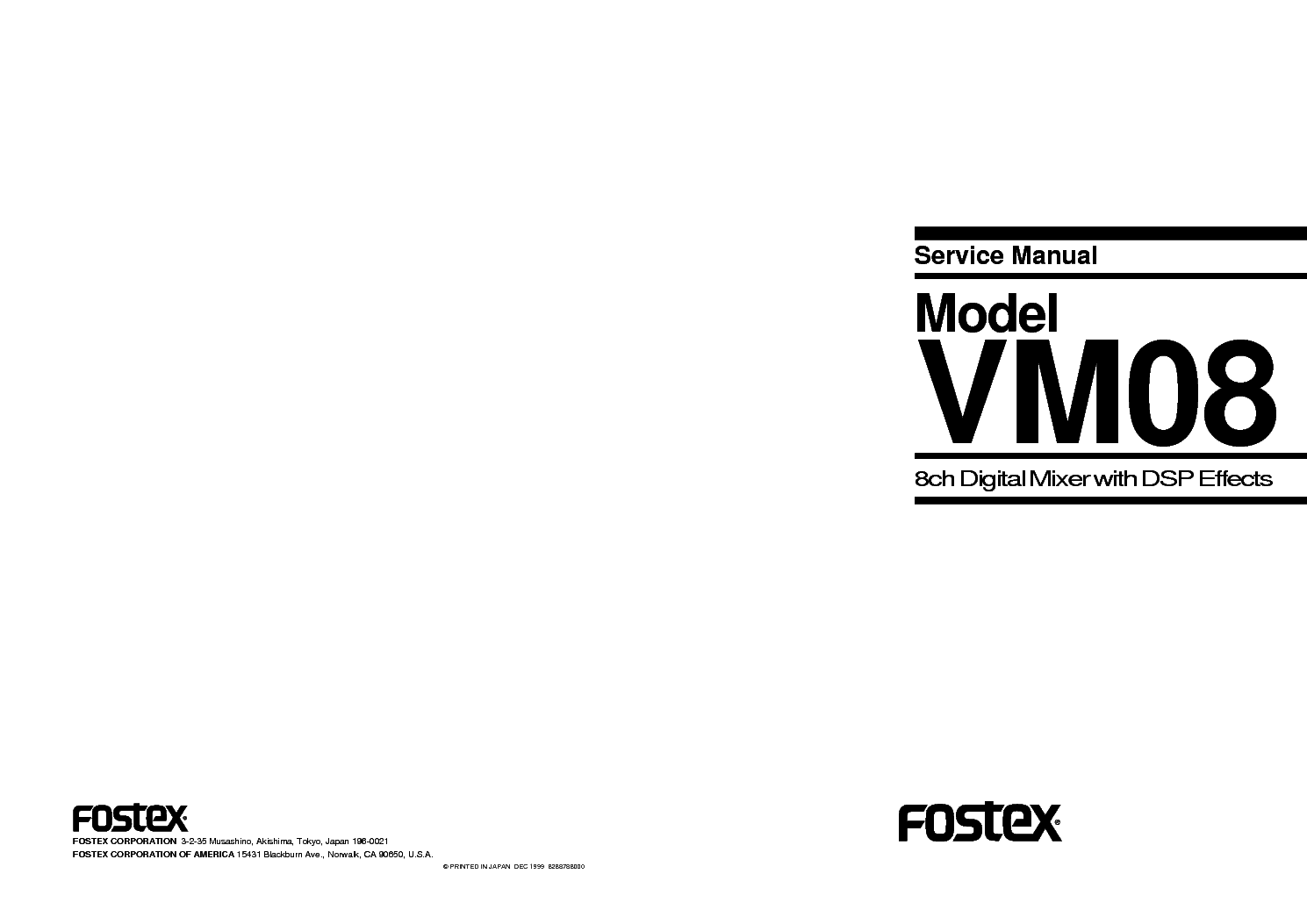 FOSTEX A8 SM Service Manual free download, schematics