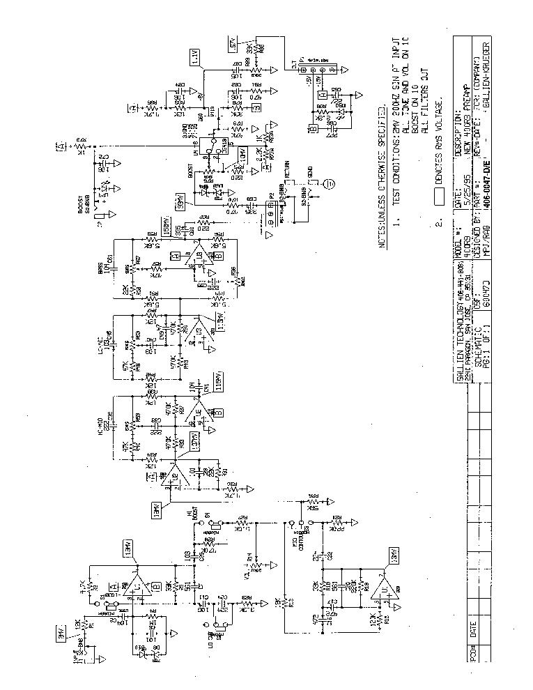 GALLIEN KRUEGER 400RB PREAMP 206-0047-D-E 1995 SCHEMATICS