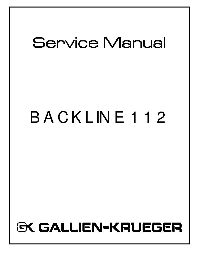 GALLIEN KRUEGER BL112 POWERAMP 206 0151 Service Manual