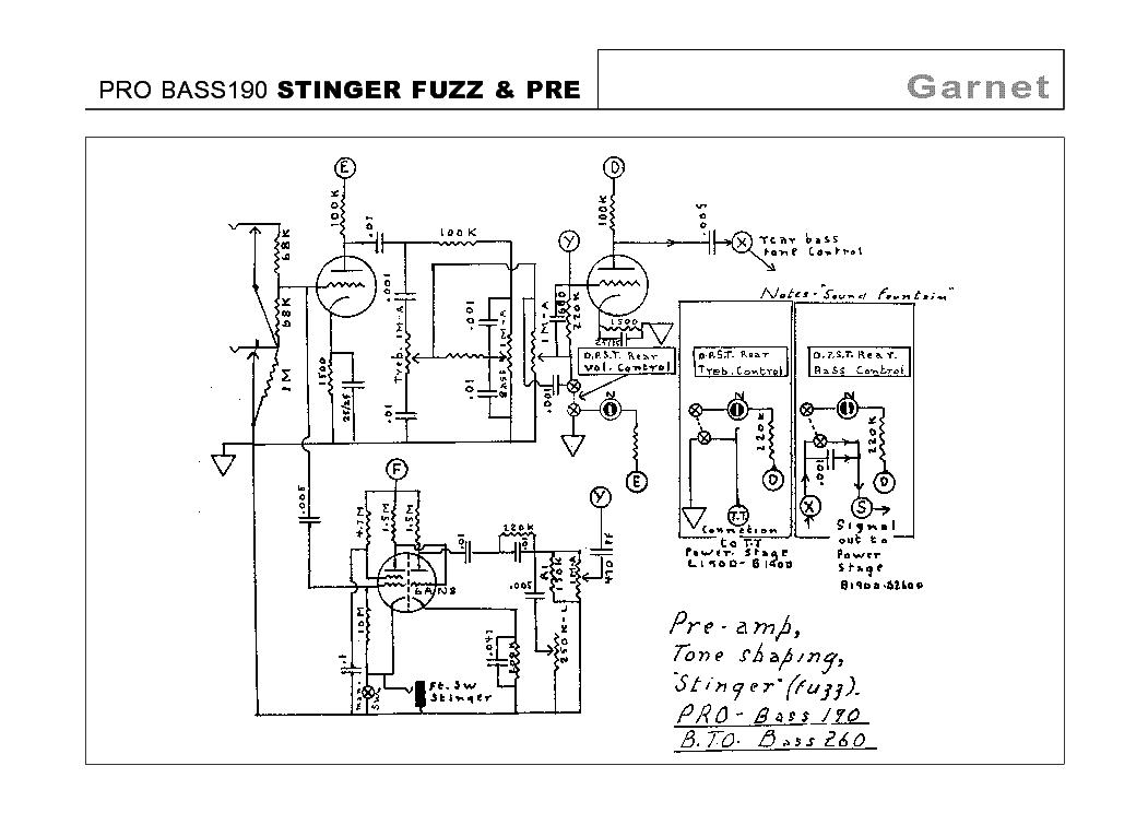 GARNET PRO BASS 190 STINGER FUZZ PRE SCHEMATIC Service