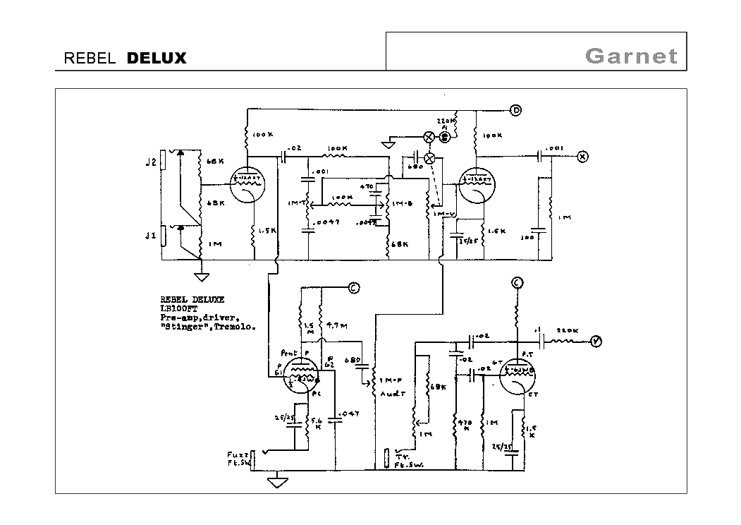 GARNET GS100R PREAMP REVERB SCHEMATIC Service Manual