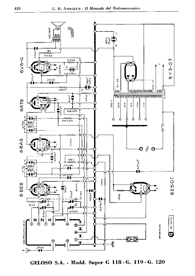 GELOSO 118-119 120 SUPER RADIO AND 2641 TUNER SCH Service
