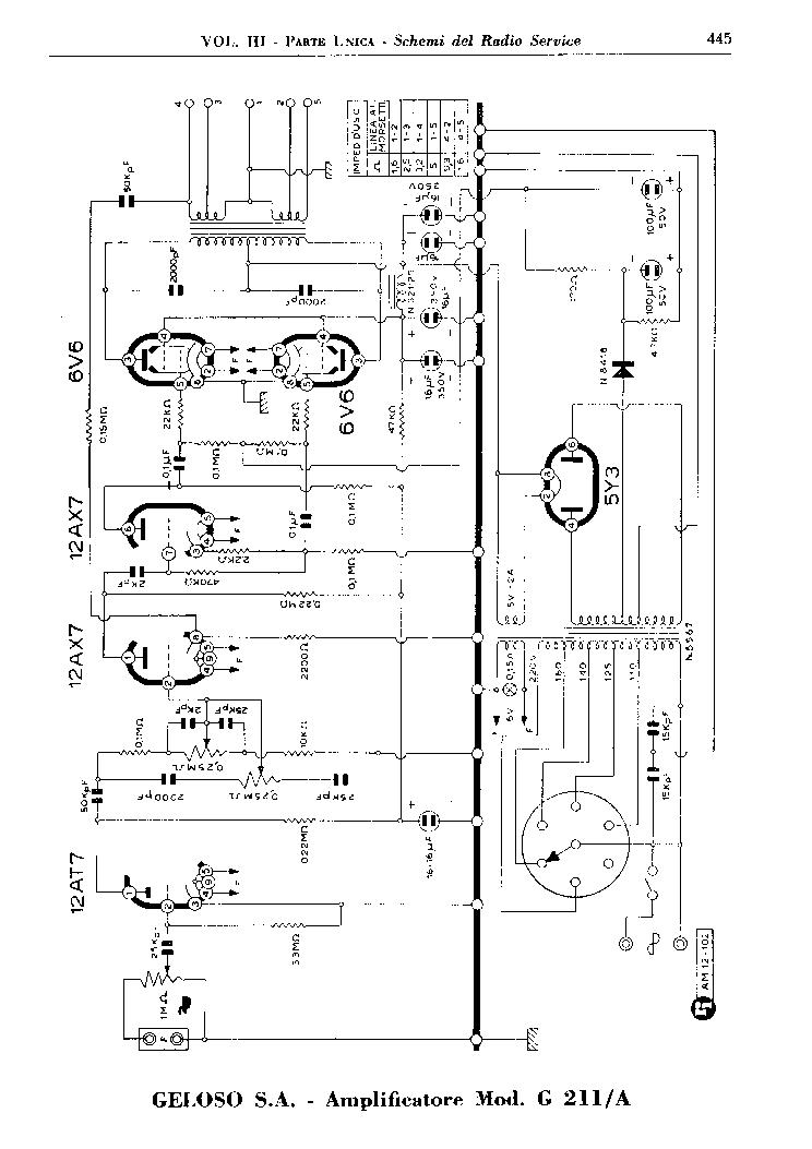 GELOSO 211A AMPLIFIER SCH Service Manual download
