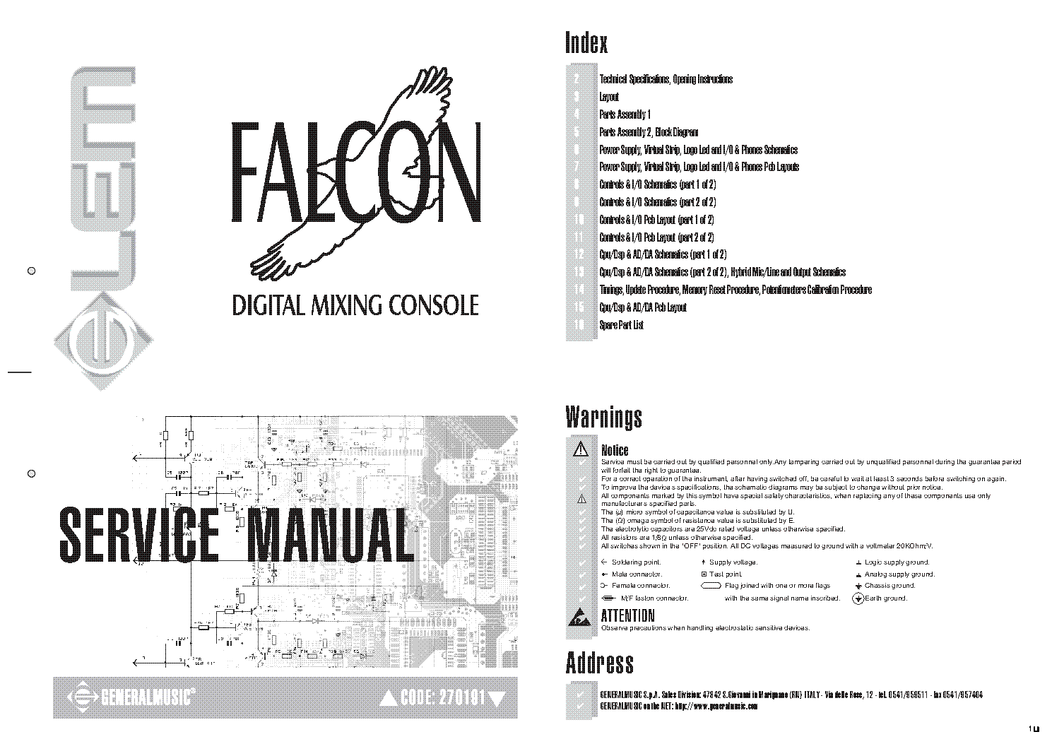 GENERALMUSIC FALCON DIGITAL MIXING CONSOLE Service Manual