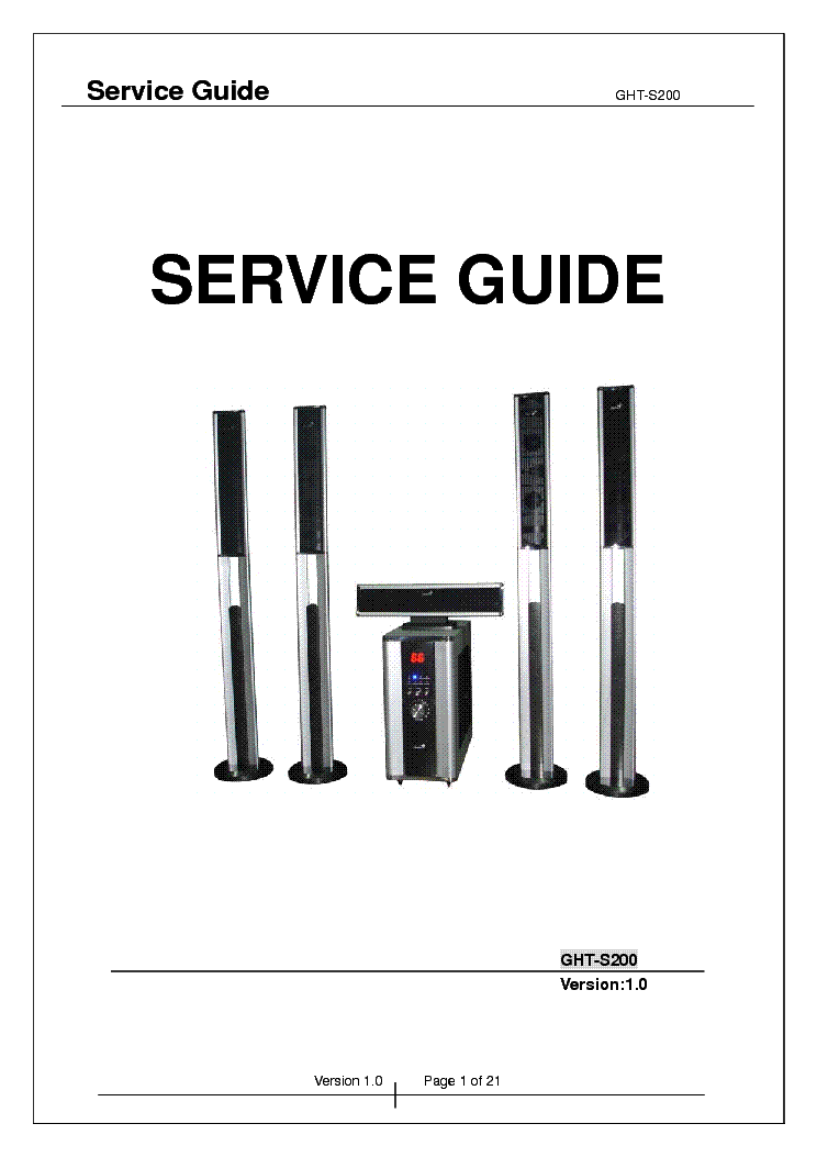GENIUS SERVICE GUIDE GHT-S200 Service Manual download